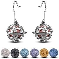 INFUSEU Women's Lava Stone Beads Earrings for Aromatherapy Essential Oil Diffuser Jewelry, Filigree Teardrop Dangling Hook Earrings
