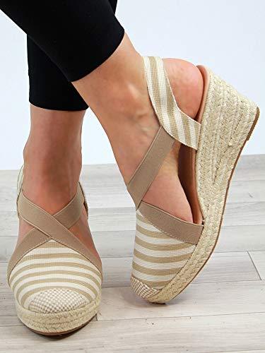 ba3040f2f7a1 PiePieBuy Womens Espadrille Platform Wedge Sandals Closed Toe Mid Heel  Ankle Sandals (8 B(