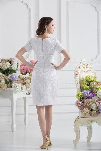 knielangen kurzen Kleid Laessige aermeln BRIDE Weiß GEORGE mit FZqwEPxT