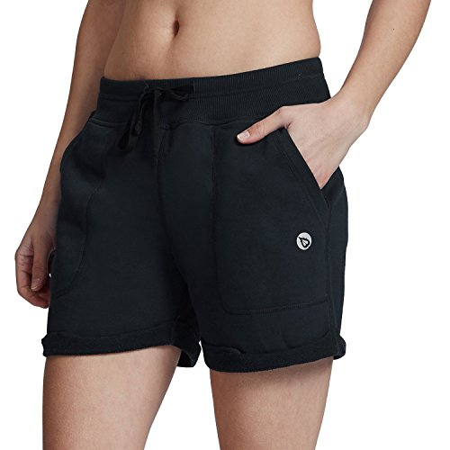 Baleaf Women's Activewear Yoga Gym Lounge Shorts With Pockets French Terry Dark Blue Size L