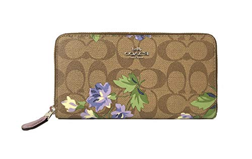 COACH ACCORDION ZIP WALLET IN SIGNATURE F54630 (SV/Khaki Purple Multi)