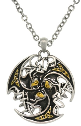 Jewelry Trends Pewter Unisex Celtic Lion Trinity Knot Pendant with 23 Inch Chain Necklace
