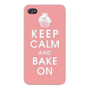 Apple Iphone Custom Case 5 5s Snap on - Keep Calm and Bake On w/ Cupcake