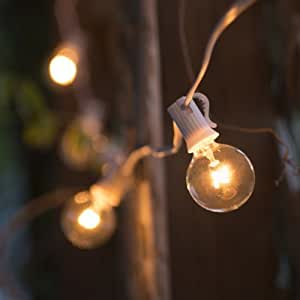 G40, 25 Clear Bulbs on 26 Ft. Long White Wire, UL Listed Indoor/ Outdoor String Light, Extendable