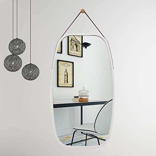TZAMLI Wall-Mounted Mirror Simple Style Bathroom Bedroom Wall-Mounted Mirror, Solid Bamboo Frame -