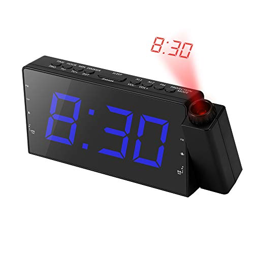 Projection Alarm Clock, Am Fm Radio Alarm Clock Dimmable, Battery Digital Dual Time Alarm Projection Clock On Ceiling Wall With Led Display, Weather, Outdoor Temperature, Usb, Light for Bedroom, Kid -