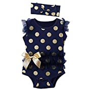 Mombebe Baby Girls' Lace Tutu Dress Bodysuit with Headband (0-3 Months, Dot Dark Blue)
