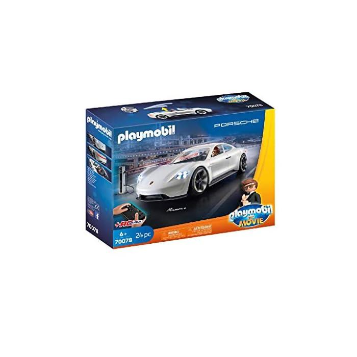 4180Ju6zNML Diversión para los pequeños aficionados a la gran pantalla; PLAYMOBIL: THE MOVIE Porsche Mission E y Rex Dasher con luz en los faros delanteros y traseros para jugar Coche deportivo con mando de control remoto, espacio para 2 figuras, techo descapotable, con estación de carga, a juego con PLAYMOBIL: THE MOVIE Marla (70072) Juego de figuras para niños a partir de 5 años: óptimo para el tamaño de sus manos y bordes redondeados agradables al tacto