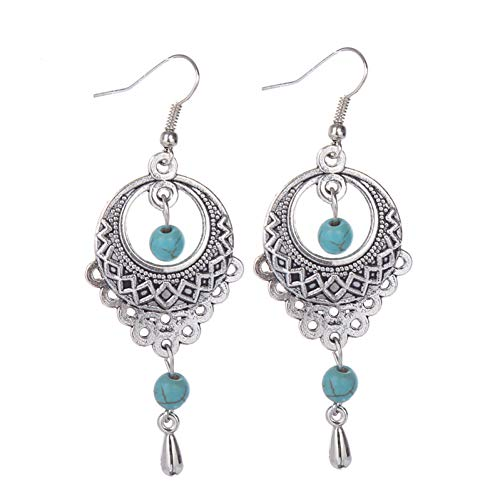 - IUTING Vintage Tibetan Geometric Earrings Ethnic Hollow Tear Tassel Stone Earrings for Women Fancy Fine Jewelry