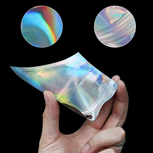 120 Pieces Resealable Smell Proof Bags Aluminum Metallic Foil Pouch Bag Flat Ziplock Mylar Bag for Food, Candy, Jewelry, Screw, 4 Sizes (Holographic)