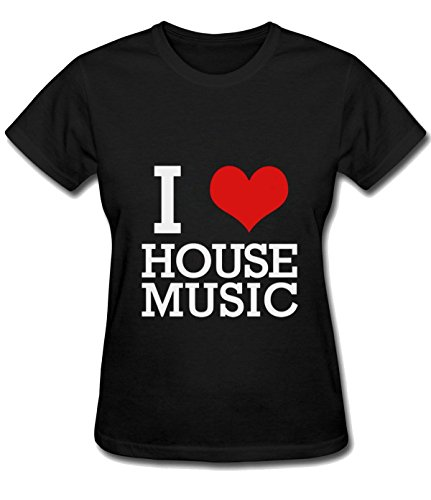 Iron Maiden Tool Women's I Love House Music sport T shirt black (Iron Maiden Sheet Music)