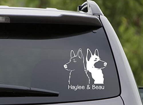 (CELYCASY Vinyl Car Decal 2 German Shepherds Customize The Names! 6 Choices: Short/Long Hair/Black/White/Belgian Malinois)