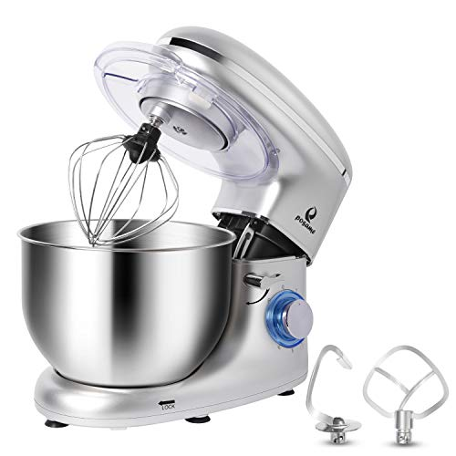POSAME Stand Mixer Professional Kitchen Baking Mixer 660W 6-Speeds 6-Quart Stainless Steel Bowl Tilt-Head Electric Mixers Dough Mixer Cake Kneading Machine with Dough Hook, Whisk, Beater, Pouring Shield (Best Mixer For Kneading Dough)