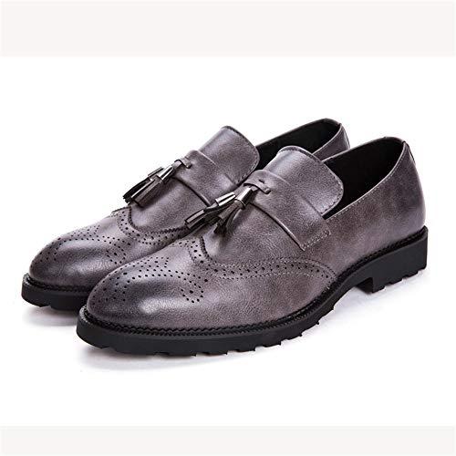 Ofgcfbvxd Mocasines Planos Casuales para Hombres Moda Oxford, cómodo, bajo clásico, con Flecos, Tallado, Zapatos Brogue para la Fiesta Formal de Trabajo de ...