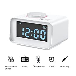 Digital Alarm Clock with FM Radio, ALLOMN Dual Alarm Clock with AUX Speaker, Indoor Thermometer, Phone Charger with Dual USB Port, 1.4 LCD Display, Nap/Sleep Timer for Bedroom (White)