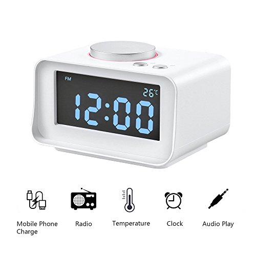 Digital Alarm Clock with FM Radio, ALLOMN Dual Alarm Clock with AUX Speaker, Indoor Thermometer, Phone Charger with Dual USB Port, 1.4