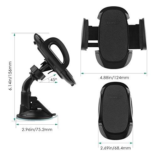 AUKEY Mobile Phone Holder Windshield Dashboard 360 Degree Rotating Car...