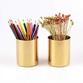 vasi per cancelleria Portapenne da scrivania in acciaio inox Gold portapenne dorato portapenne da scrivania porta pennelli da trucco vasi