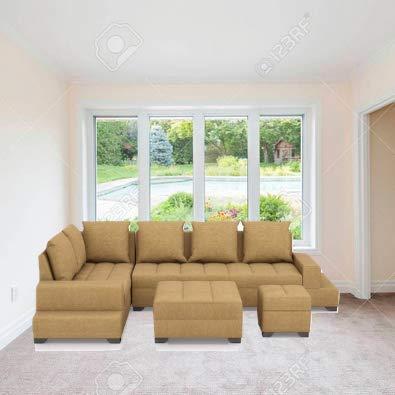 Zikra Six Seater L-Shaped Sofa (Brown)