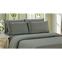 Bamboo Living Eco Friendly Egyptian Comfort Bedding 6 Piece Sheet Set (w/4 Pillowcases) (Gray, Queen)