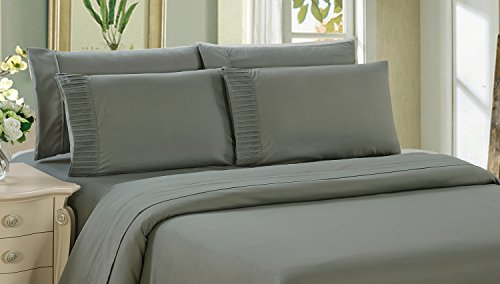 Bamboo Living Eco Friendly Egyptian Comfort Bedding 6 Piece Sheet Set with 4 Pillowcases, Gray Color, Double/Full Size