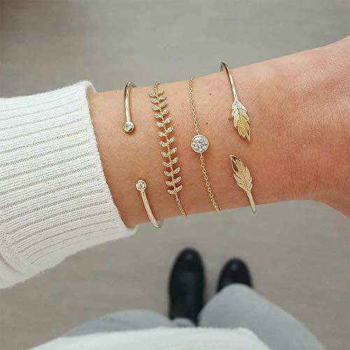 MMYUSL Bracelet 4 Pcs/Set Women's Fashion Crystal Leaves Geometric Chain Gold Bracelet Set Bohemian Kiss Wife Vintage Jewelry ()