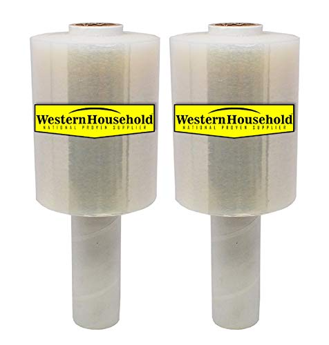2 Packs of Industrial Strength Mini Stretch Wrap Film with Handle for Pallet Wrap, Moving Supplies Stretch Wrap & Shrink Wrap - 80 Gauge, 5