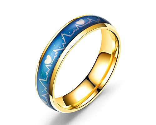 Ello Elli 6MM Stainless Steel Color Changing Mood Ring, Heartbeat Pattern w/Hearts Design (Gold, 10)
