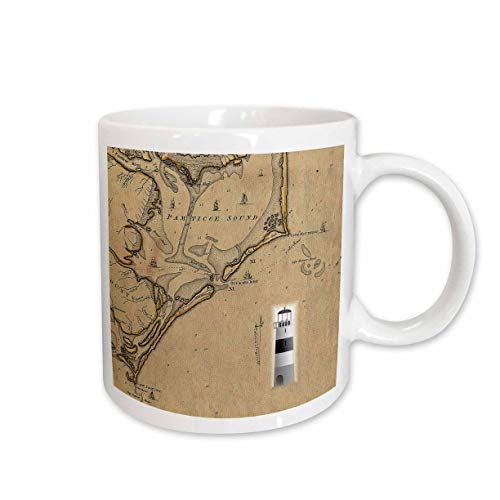 3dRose lens Art by Florene - Nautical Maps - Image of Vintage Nautical Map Cape Hatteras North Carolina - 11oz Two-Tone Black Mug (mug_317557_4) (Hatteras Table Side)