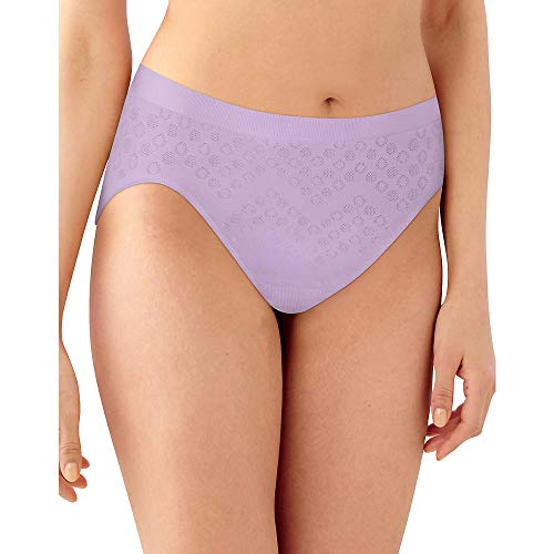 Brief Panty Cut High (Bali Women's Comfort Revolution Seamless High-Cut Brief Panty, Morning Orchid Dot, 11)