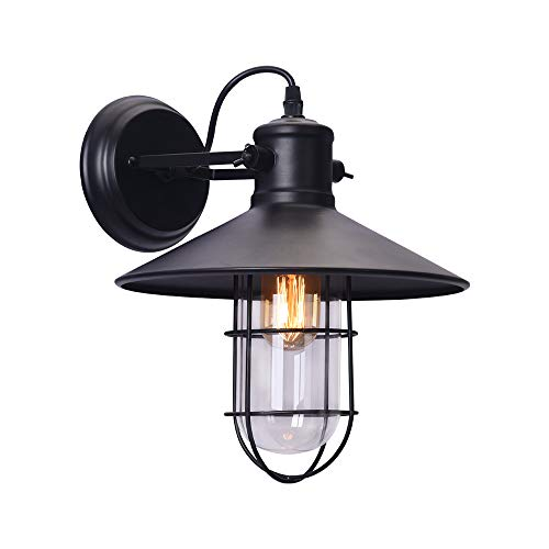 NOVO Light 1 Light Sconce Wall Light with Wire Cage Shade Matte Black E26 Base Black