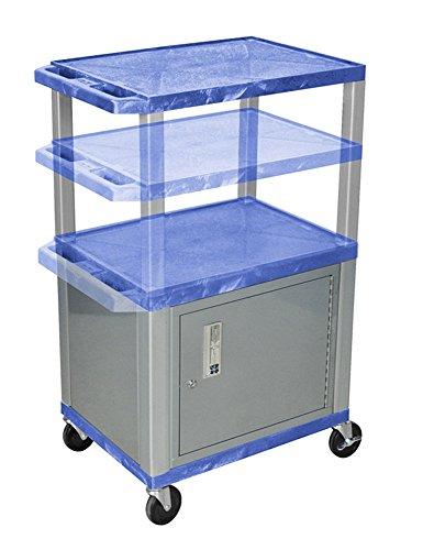 H.Wilson WT2642C4E-N Adjustable Height Audio Visual Presentation 3 Shelves Blue Tuffy AV Cart with Cabinet Nickel Legs