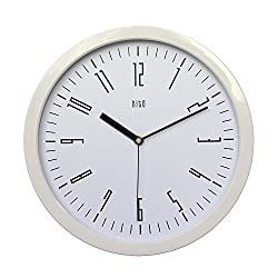 hito Modern Colorful Silent Non-ticking Wall Clock- 12 inches (White Frame, Classic White)