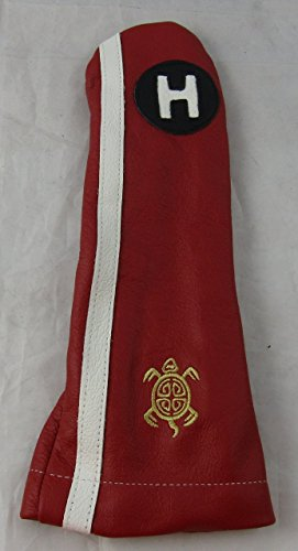 Logo Hybrid Golf Headcover (Stitch Golf Leather RACER Hybrid HEADCOVER RED WHITE LOGO AS PICTURED)