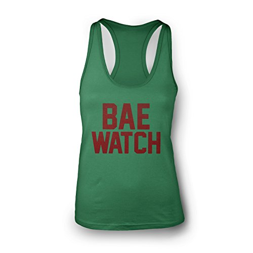 brklyn kings Bae Watch Funny Parody Women's Racerback Tank Top Green Large