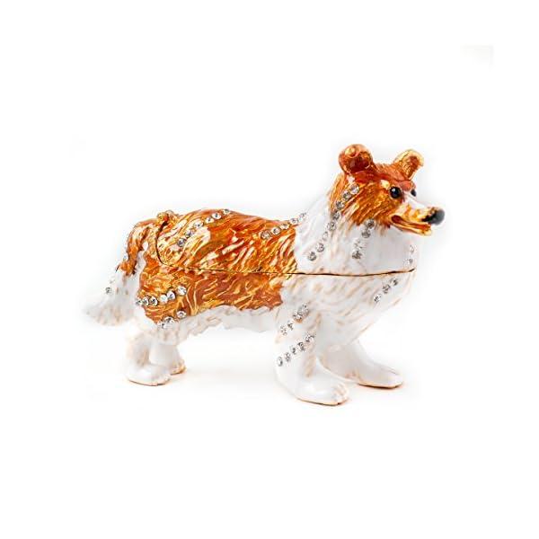 Apropos Vintage Style Hand-Painted Dog- English Shepherd Trinket Box 1