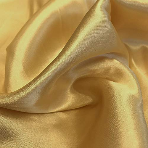 """(VDS - 20 Yard Charmeuse Bridal Solid Satin Fabric for Wedding Dress Fashion Crafts Decorations Silky Satin 44"""" inches by The Yard – (Gold))"""