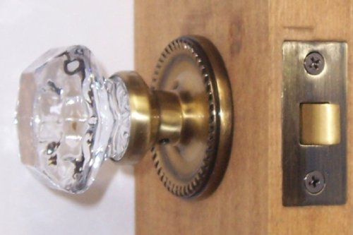 Six Point Princess Old Town 24% Lead Crystal Interior Passage Knob Sets with Antique Brass Over Solid Brass Old Town Retrofit Rosettes