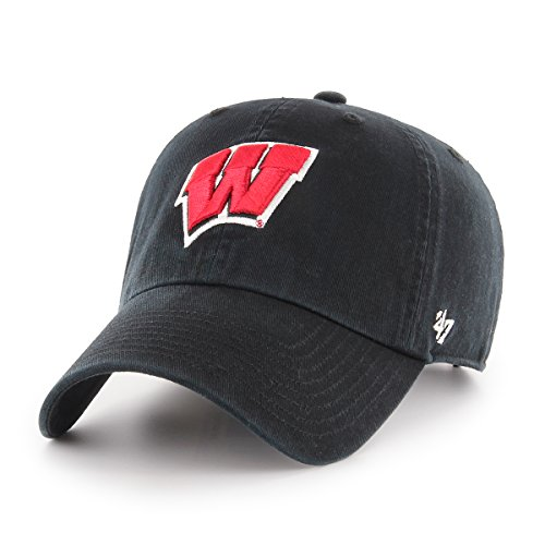 NCAA Wisconsin Badgers Clean Up Adjustable Hat, One Size, Black