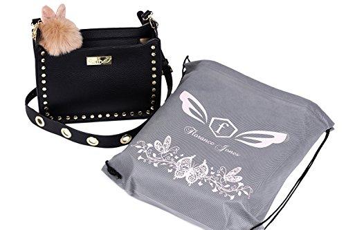 Women Handbags-Crossbody Bags-Purse-with Cute Furry Keychain by Florance Jones