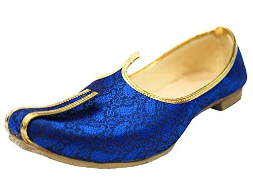 Step n Style Blue Mojari for Indian Mens Tradition Ethnic Jutti and Sherwani Shoes for Wedding,Blue,8.5 D(M) US