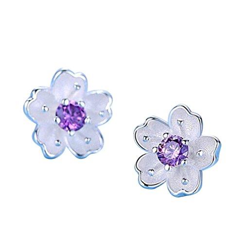 Women Earrings Clearance! 2018 Flower Earrings Crystal Clip On Stud Earrings Fashion Jewelry Eardrop for Women Girls (Purple)