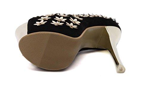 LDMB Chaussures Peep Toe Court Chaussures à talons hauts à talons hauts de 16Cm , black , 36