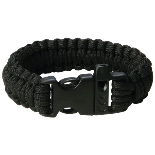 Paracord Survival Bracelet With Whistle – 9 Inch – Black – 12 1/2′ of Parachute Cord, Outdoor Stuffs