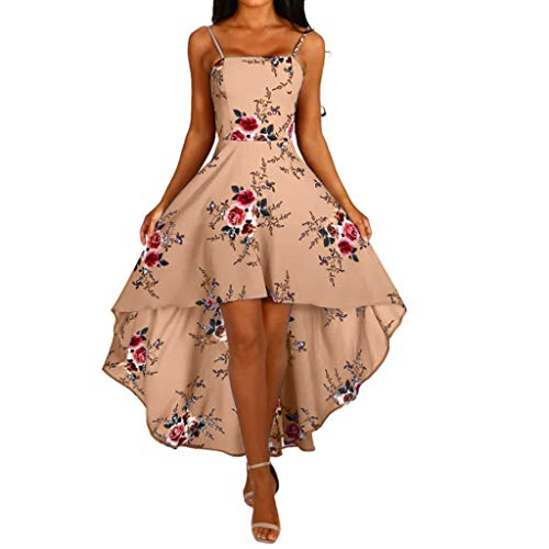 Sunhusing Ladies Sling Halter Backless Cross Strappy Lace-Up Tube Top Irregular Hem High Waist Tuxedo Dress Khaki