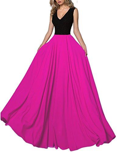LMBRIDAL Women's Sexy V Neck Evening Dress Lace Floor Length Formal Gown Fushia ()