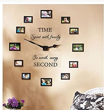 Buy Sentiment Photo Wall Clock Decal and Picture Frames Kit Time
