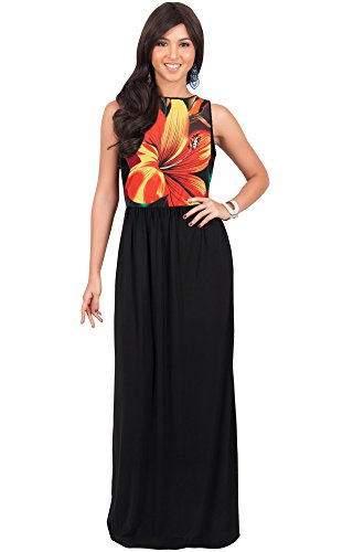 KOH KOH Womens Long Sleeveless Summer Floral Printed Casual Beach Cute Boho Sundress Hawaiian Party Gown Gowns Maxi Dress Dresses, Pink, Large L 12-14 (Hawaiian Party Dress)