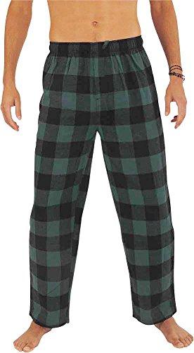 NORTY - Mens Cotton Buffalo Plaid Flannel Sleep Pajama Pant, Green, Black 39976-X-Large