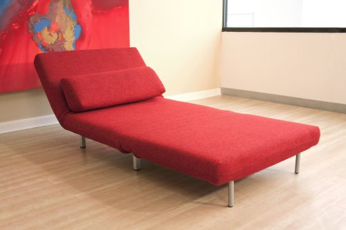 baxton studios romano convertible sofa chair bed red